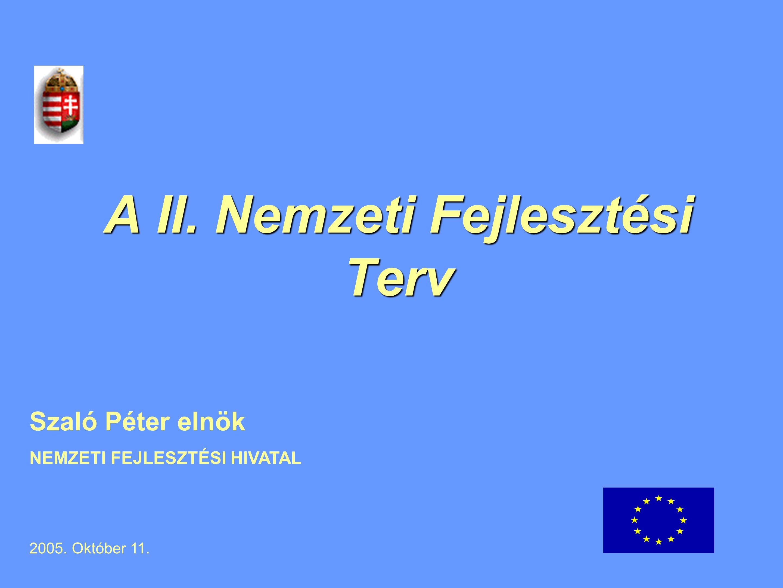A II. Nemzeti Fejlesztési Terv Szaló Péter elnök NEMZETI FEJLESZTÉSI HIVATAL 2005. Október 11.