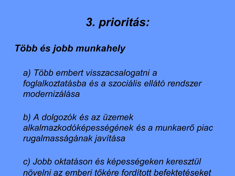 3. prioritás: Több és jobb munkahely a) Több embert visszacsalogatni a foglalkoztatásba és a szociális ellátó rendszer modernizálása b) A dolgozók és