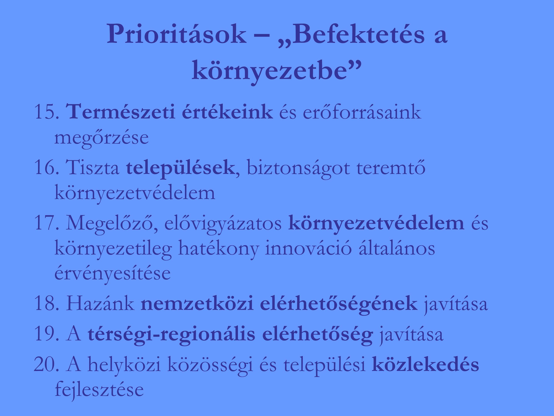 """Prioritások – """"Befektetés a környezetbe 15. Természeti értékeink és erőforrásaink megőrzése 16."""