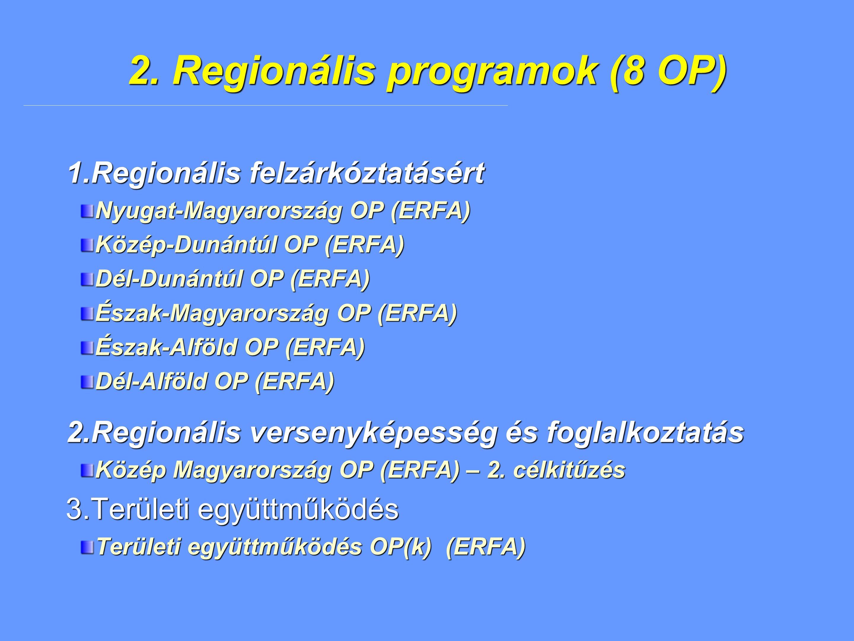 2. Regionális programok (8 OP) 1.Regionális felzárkóztatásért Nyugat-Magyarország OP (ERFA) Közép-Dunántúl OP (ERFA) Dél-Dunántúl OP (ERFA) Észak-Magy