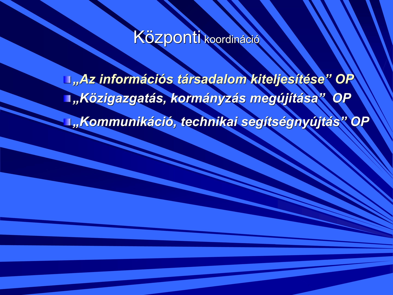 """Központi koordináció """"Az információs társadalom kiteljesítése OP """"Közigazgatás, kormányzás megújítása OP """"Kommunikáció, technikai segítségnyújtás OP"""