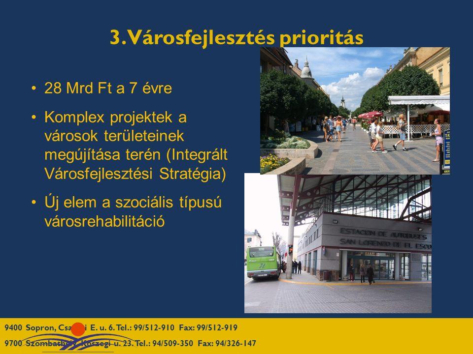 3. Városfejlesztés prioritás 28 Mrd Ft a 7 évre Komplex projektek a városok területeinek megújítása terén (Integrált Városfejlesztési Stratégia) Új e