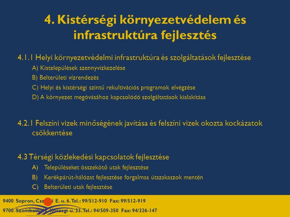 4. Kistérségi környezetvédelem és infrastruktúra fejlesztés 4.1.1 Helyi környezetvédelmi infrastruktúra és szolgáltatások fejlesztése A) Kistelepülése