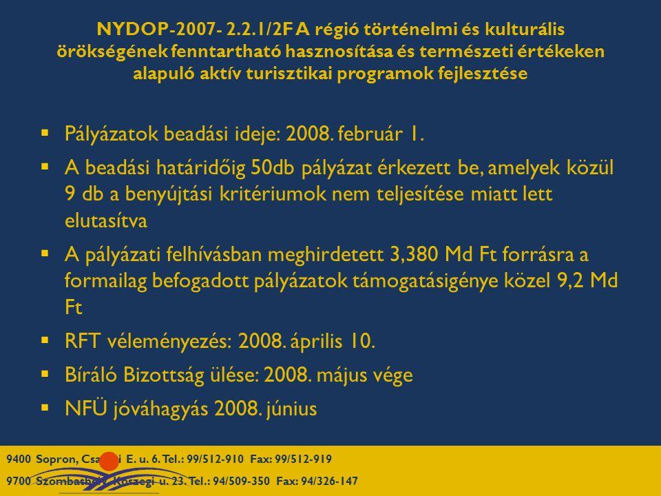NYDOP-2007- 2.2.1/2F A régió történelmi és kulturális örökségének fenntartható hasznosítása és természeti értékeken alapuló aktív turisztikai programok fejlesztése  Pályázatok beadási ideje: 2008.