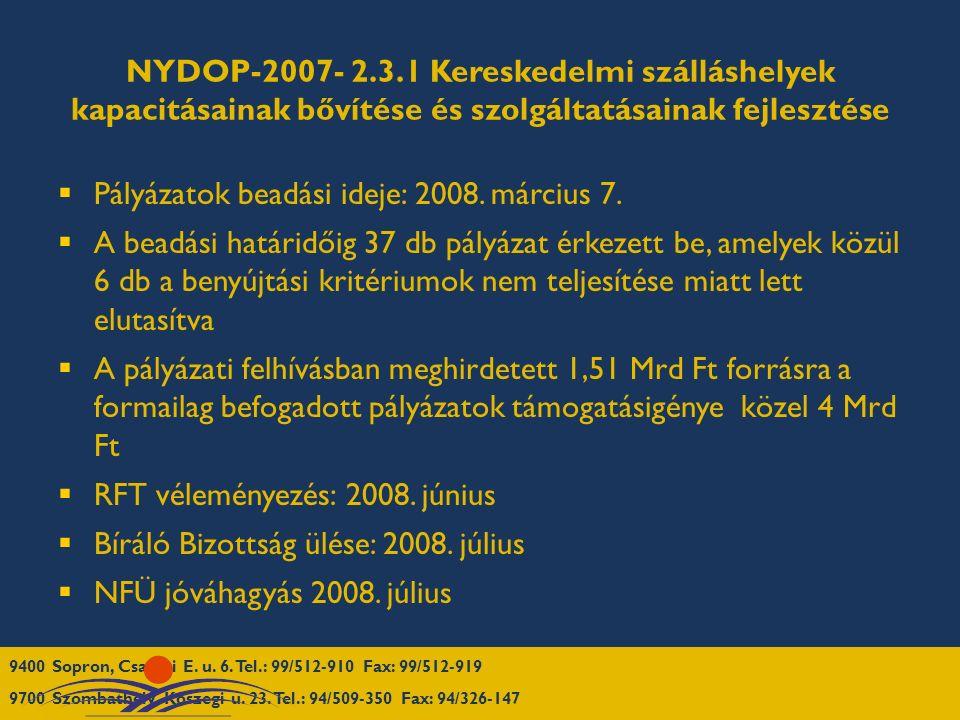 NYDOP-2007- 2.3.1 Kereskedelmi szálláshelyek kapacitásainak bővítése és szolgáltatásainak fejlesztése  Pályázatok beadási ideje: 2008. március 7.  A