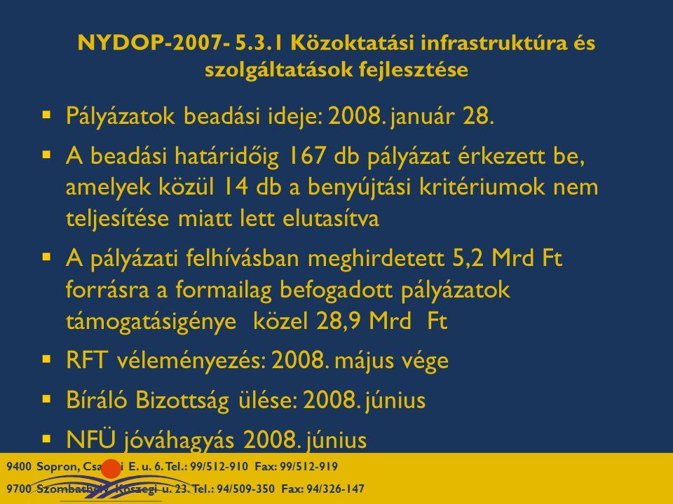 NYDOP-2007- 5.3.1 Közoktatási infrastruktúra és szolgáltatások fejlesztése  Pályázatok beadási ideje: 2008. január 28.  A beadási határidőig 167 db