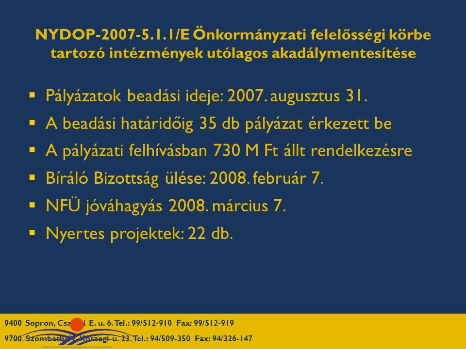 NYDOP-2007-5.1.1/E Önkormányzati felelősségi körbe tartozó intézmények utólagos akadálymentesítése  Pályázatok beadási ideje: 2007.