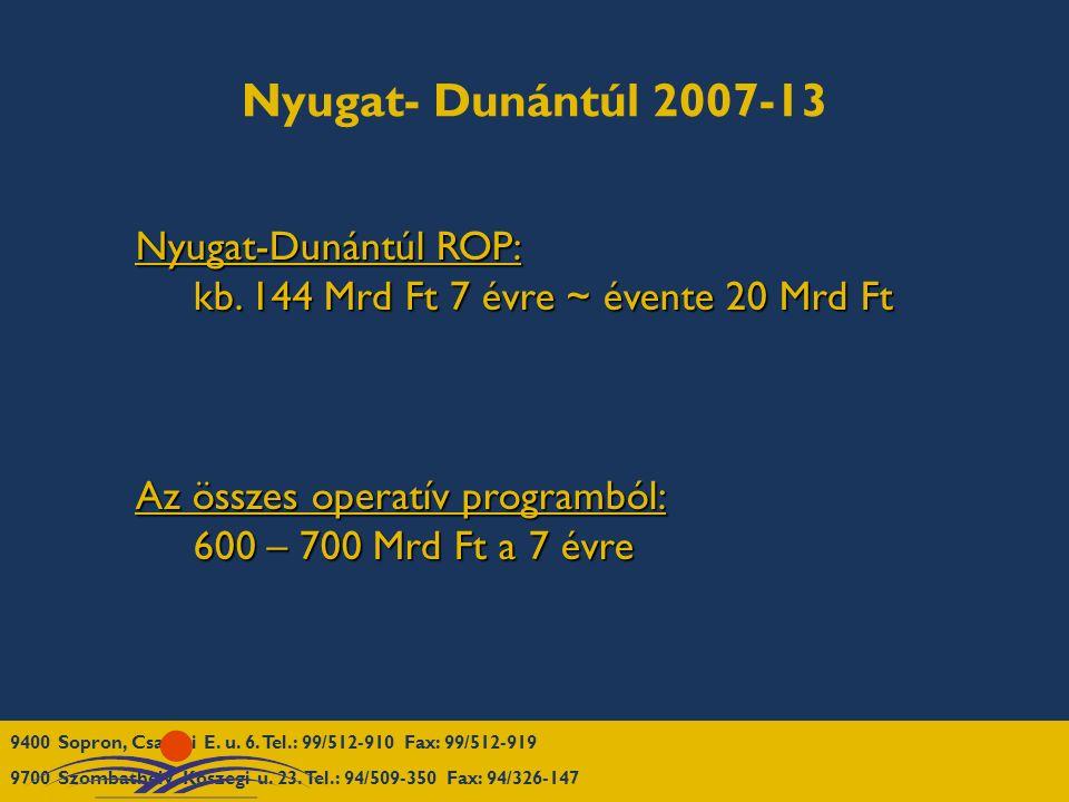 Nyugat- Dunántúl 2007-13 Nyugat-Dunántúl ROP: kb. 144 Mrd Ft 7 évre ~ évente 20 Mrd Ft kb.