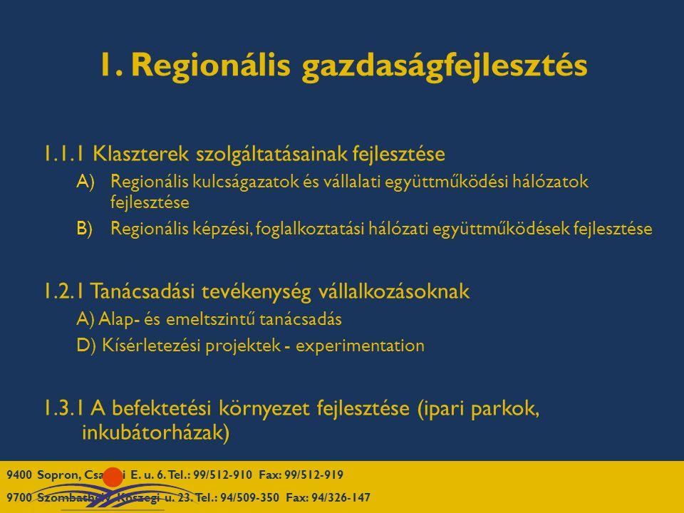 1. Regionális gazdaságfejlesztés 1.1.1 Klaszterek szolgáltatásainak fejlesztése A)Regionális kulcságazatok és vállalati együttműködési hálózatok fejle