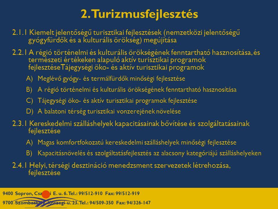 2. Turizmusfejlesztés 2.1.1 Kiemelt jelentőségű turisztikai fejlesztések (nemzetközi jelentőségű gyógyfürdők és a kulturális örökség) megújítása 2.2.1