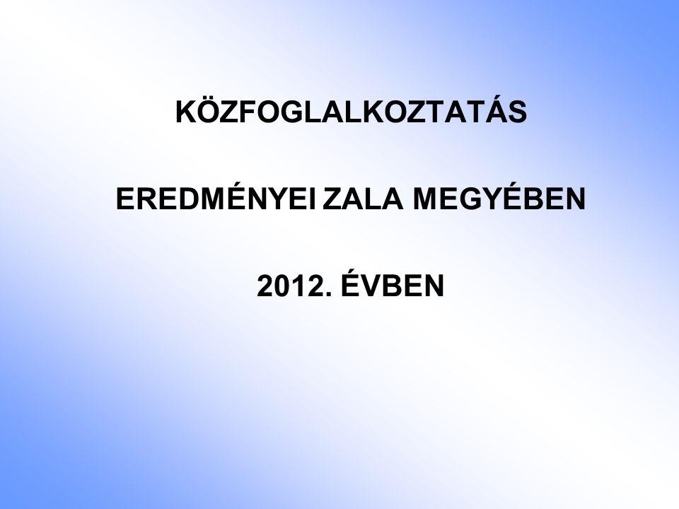 KÖZFOGLALKOZTATÁS EREDMÉNYEI ZALA MEGYÉBEN 2012. ÉVBEN