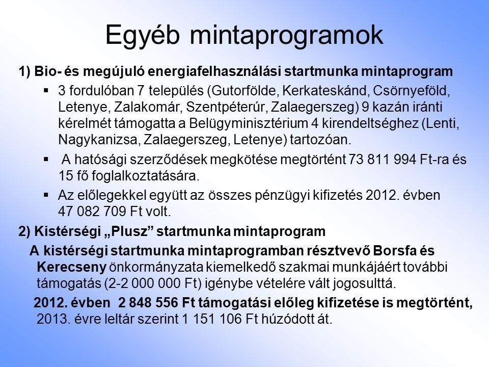 Egyéb mintaprogramok 1) Bio- és megújuló energiafelhasználási startmunka mintaprogram  3 fordulóban 7 település (Gutorfölde, Kerkateskánd, Csörnyeföl