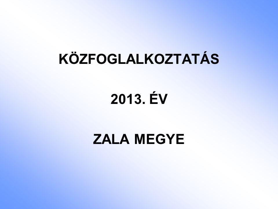 KÖZFOGLALKOZTATÁS 2013. ÉV ZALA MEGYE
