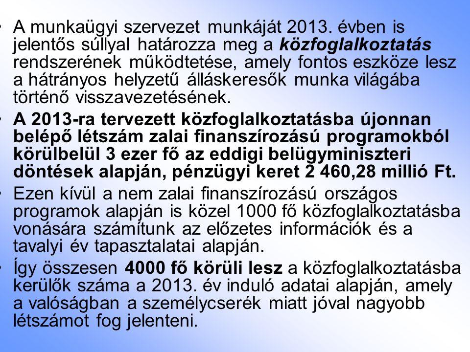 A munkaügyi szervezet munkáját 2013. évben is jelentős súllyal határozza meg a közfoglalkoztatás rendszerének működtetése, amely fontos eszköze lesz a