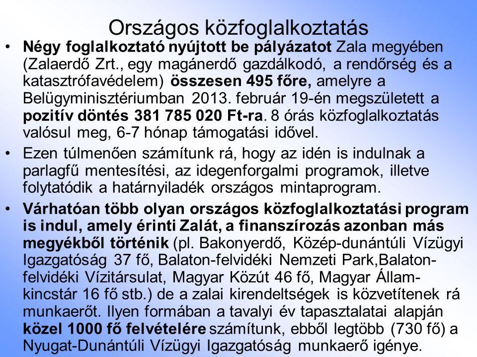 Országos közfoglalkoztatás Négy foglalkoztató nyújtott be pályázatot Zala megyében (Zalaerdő Zrt., egy magánerdő gazdálkodó, a rendőrség és a katasztrófavédelem) összesen 495 főre, amelyre a Belügyminisztériumban 2013.