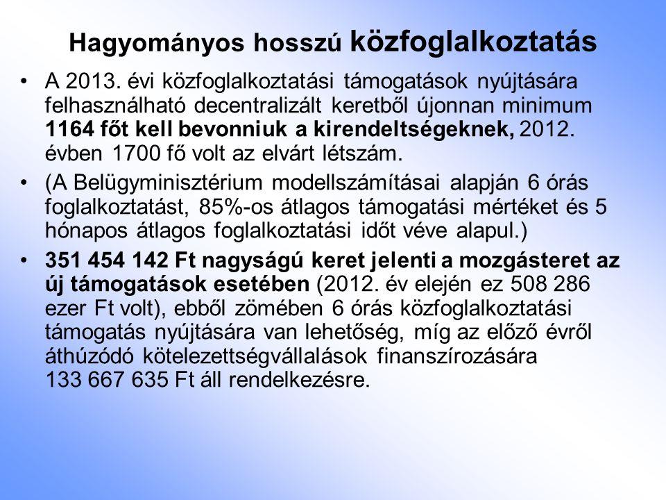 Hagyományos hosszú közfoglalkoztatás A 2013. évi közfoglalkoztatási támogatások nyújtására felhasználható decentralizált keretből újonnan minimum 1164