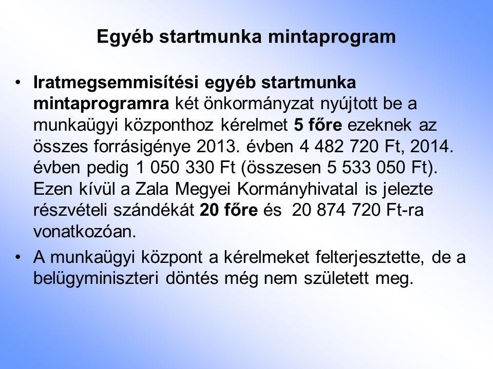 Egyéb startmunka mintaprogram Iratmegsemmisítési egyéb startmunka mintaprogramra két önkormányzat nyújtott be a munkaügyi központhoz kérelmet 5 főre e