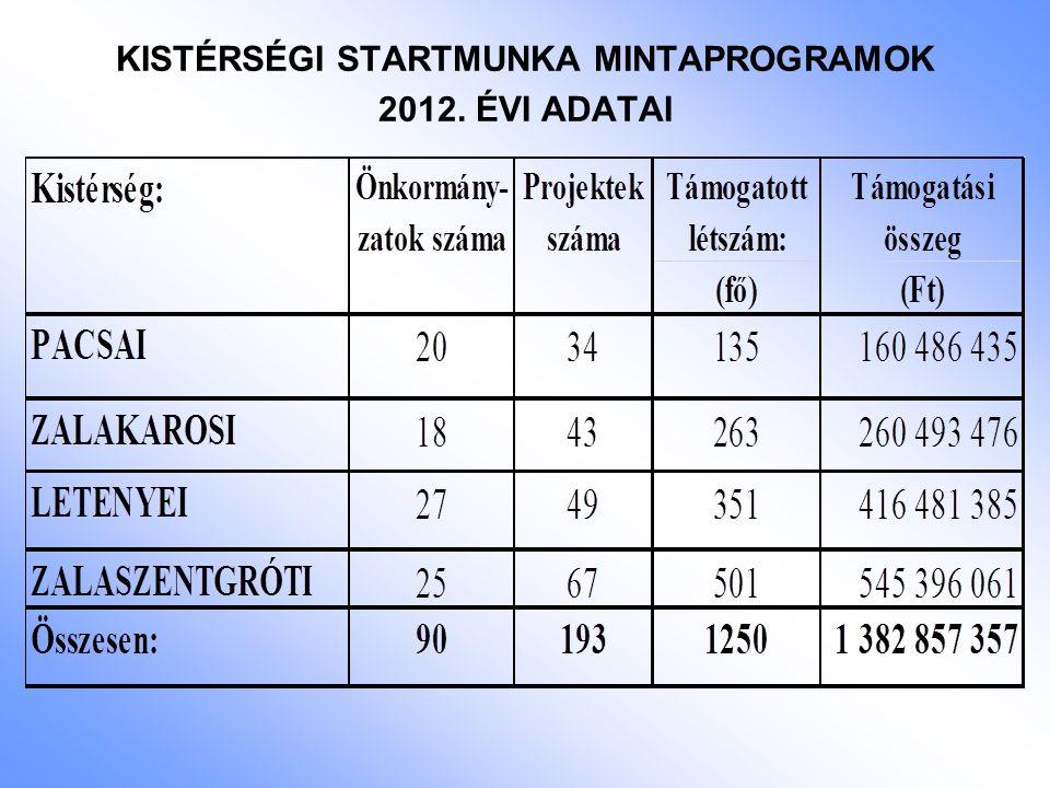 KISTÉRSÉGI STARTMUNKA MINTAPROGRAMOK 2012. ÉVI ADATAI