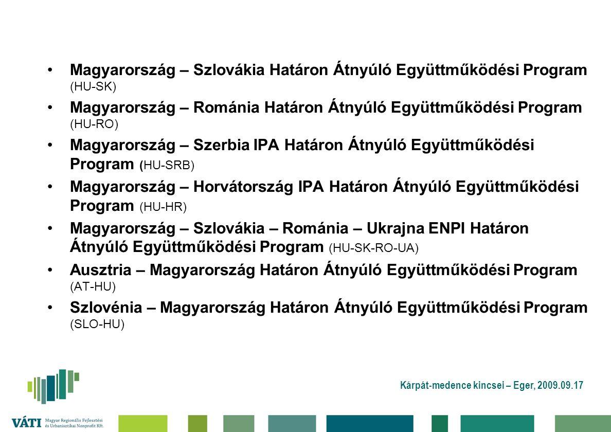 Kárpát-medence kincsei – Eger, 2009.09.17 Magyarország – Szlovákia Határon Átnyúló Együttműködési Program (HU-SK) Magyarország – Románia Határon Átnyúló Együttműködési Program (HU-RO) Magyarország – Szerbia IPA Határon Átnyúló Együttműködési Program (HU-SRB) Magyarország – Horvátország IPA Határon Átnyúló Együttműködési Program (HU-HR) Magyarország – Szlovákia – Románia – Ukrajna ENPI Határon Átnyúló Együttműködési Program (HU-SK-RO-UA) Ausztria – Magyarország Határon Átnyúló Együttműködési Program (AT-HU) Szlovénia – Magyarország Határon Átnyúló Együttműködési Program (SLO-HU)
