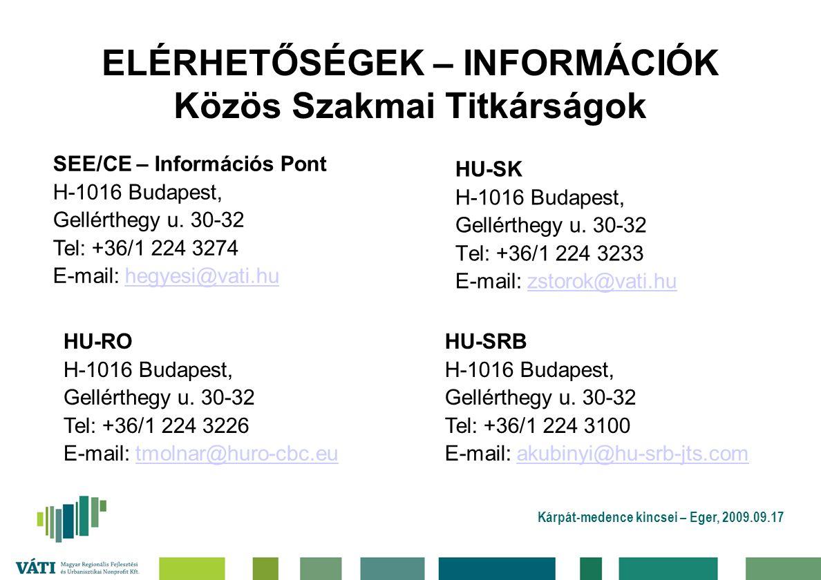 ELÉRHETŐSÉGEK – INFORMÁCIÓK Közös Szakmai Titkárságok HU-SK H-1016 Budapest, Gellérthegy u.