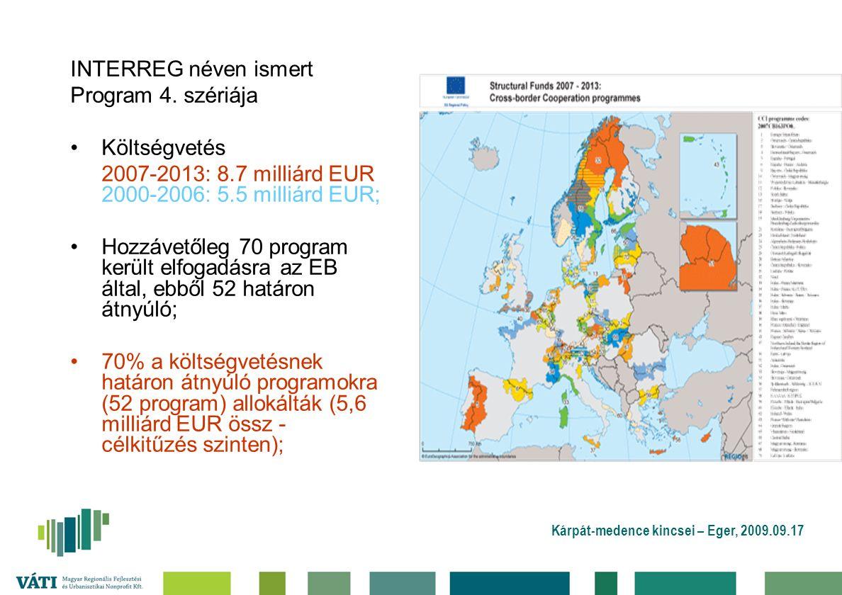 Kárpát-medence kincsei – Eger, 2009.09.17 INTERREG néven ismert Program 4. szériája Költségvetés 2007-2013: 8.7 milliárd EUR 2000-2006: 5.5 milliárd E