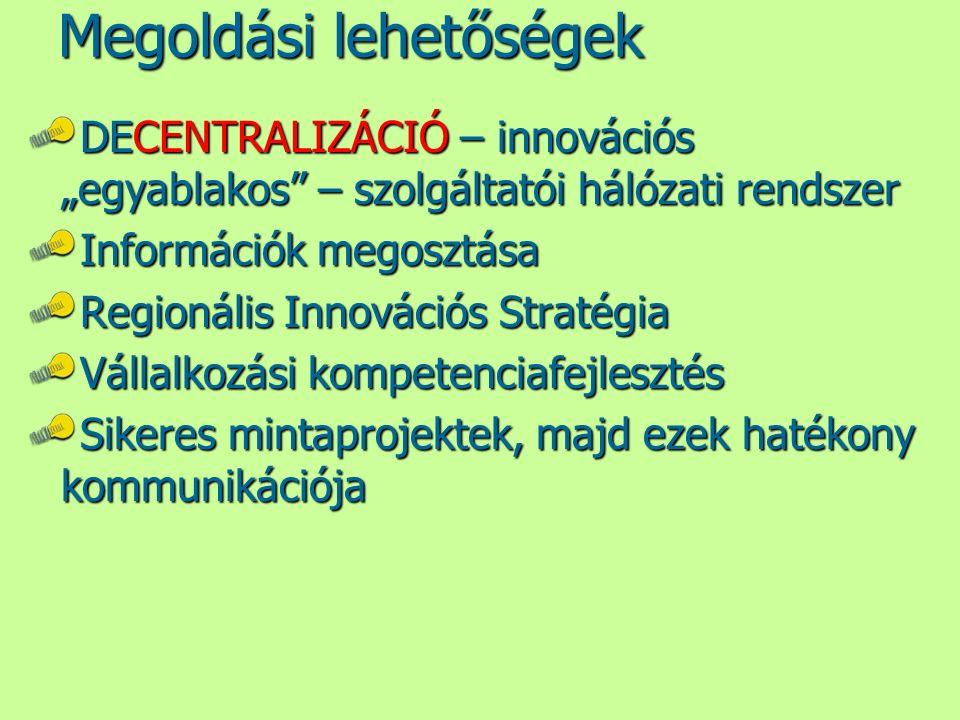 """Megoldási lehetőségek DECENTRALIZÁCIÓ – innovációs """"egyablakos"""" – szolgáltatói hálózati rendszer Információk megosztása Regionális Innovációs Stratégi"""