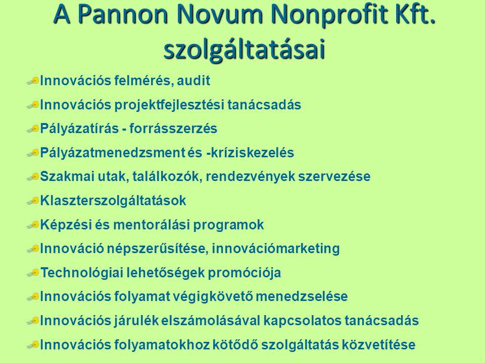 A Pannon Novum Nonprofit Kft. szolgáltatásai Innovációs felmérés, audit Innovációs projektfejlesztési tanácsadás Pályázatírás - forrásszerzés Pályázat