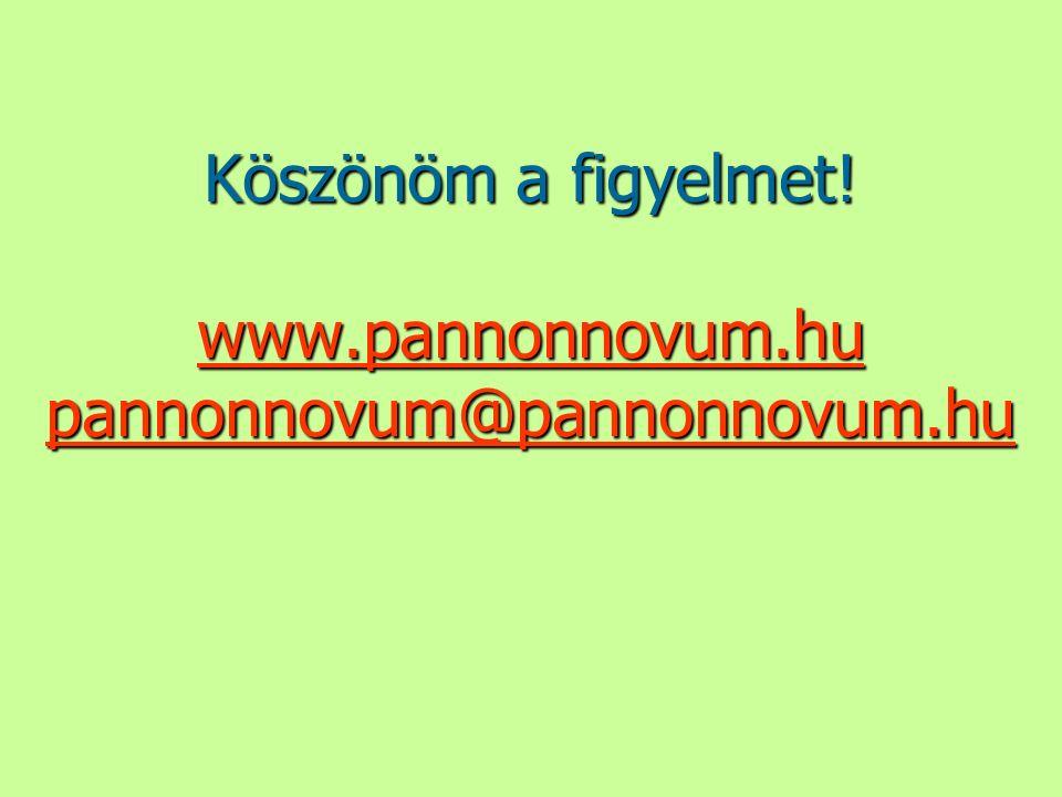 Köszönöm a figyelmet! www.pannonnovum.hu pannonnovum@pannonnovum.hu www.pannonnovum.hu pannonnovum@pannonnovum.hu www.pannonnovum.hu pannonnovum@panno