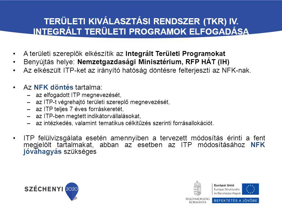TERÜLETI KIVÁLASZTÁSI RENDSZER (TKR) IV. INTEGRÁLT TERÜLETI PROGRAMOK ELFOGADÁSA A területi szereplők elkészítik az Integrált Területi Programokat Ben