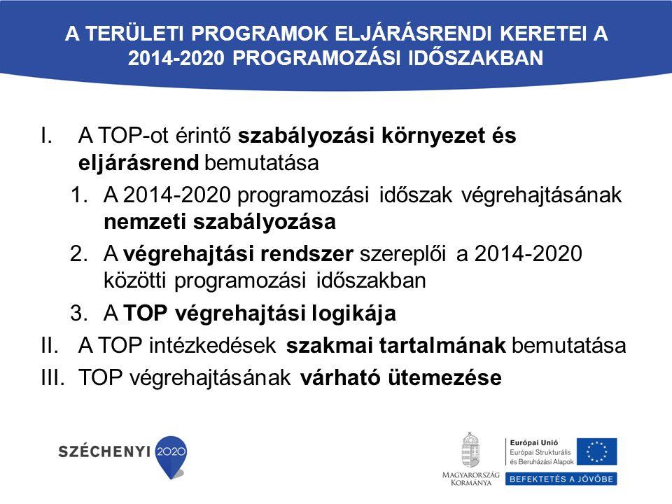 A TERÜLETI PROGRAMOK ELJÁRÁSRENDI KERETEI A 2014-2020 PROGRAMOZÁSI IDŐSZAKBAN I.A TOP-ot érintő szabályozási környezet és eljárásrend bemutatása 1.A 2014-2020 programozási időszak végrehajtásának nemzeti szabályozása 2.A végrehajtási rendszer szereplői a 2014-2020 közötti programozási időszakban 3.A TOP végrehajtási logikája II.A TOP intézkedések szakmai tartalmának bemutatása III.TOP végrehajtásának várható ütemezése