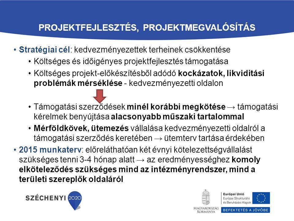 PROJEKTFEJLESZTÉS, PROJEKTMEGVALÓSÍTÁS Stratégiai cél: kedvezményezettek terheinek csökkentése Költséges és időigényes projektfejlesztés támogatása Költséges projekt-előkészítésből adódó kockázatok, likviditási problémák mérséklése - kedvezményezetti oldalon Támogatási szerződések minél korábbi megkötése → támogatási kérelmek benyújtása alacsonyabb műszaki tartalommal Mérföldkövek, ütemezés vállalása kedvezményezetti oldalról a támogatási szerződés keretében → ütemterv tartása érdekében 2015 munkaterv: előreláthatóan két évnyi kötelezettségvállalást szükséges tenni 3-4 hónap alatt → az eredményességhez komoly elköteleződés szükséges mind az intézményrendszer, mind a területi szereplők oldaláról