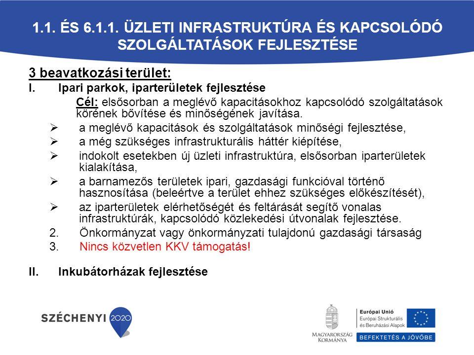 3 beavatkozási terület: I.Ipari parkok, iparterületek fejlesztése Cél: elsősorban a meglévő kapacitásokhoz kapcsolódó szolgáltatások körének bővítése