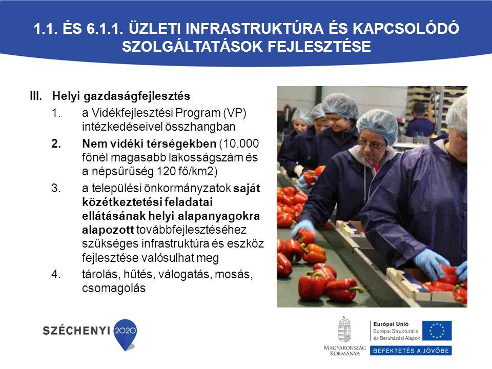 III. Helyi gazdaságfejlesztés 1.a Vidékfejlesztési Program (VP) intézkedéseivel összhangban 2.Nem vidéki térségekben (10.000 főnél magasabb lakosságsz