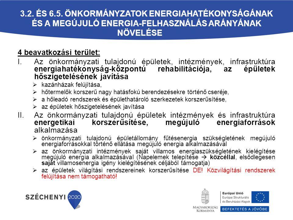 3.2. ÉS 6.5. ÖNKORMÁNYZATOK ENERGIAHATÉKONYSÁGÁNAK ÉS A MEGÚJULÓ ENERGIA-FELHASZNÁLÁS ARÁNYÁNAK NÖVELÉSE 4 beavatkozási terület: I.Az önkormányzati tu