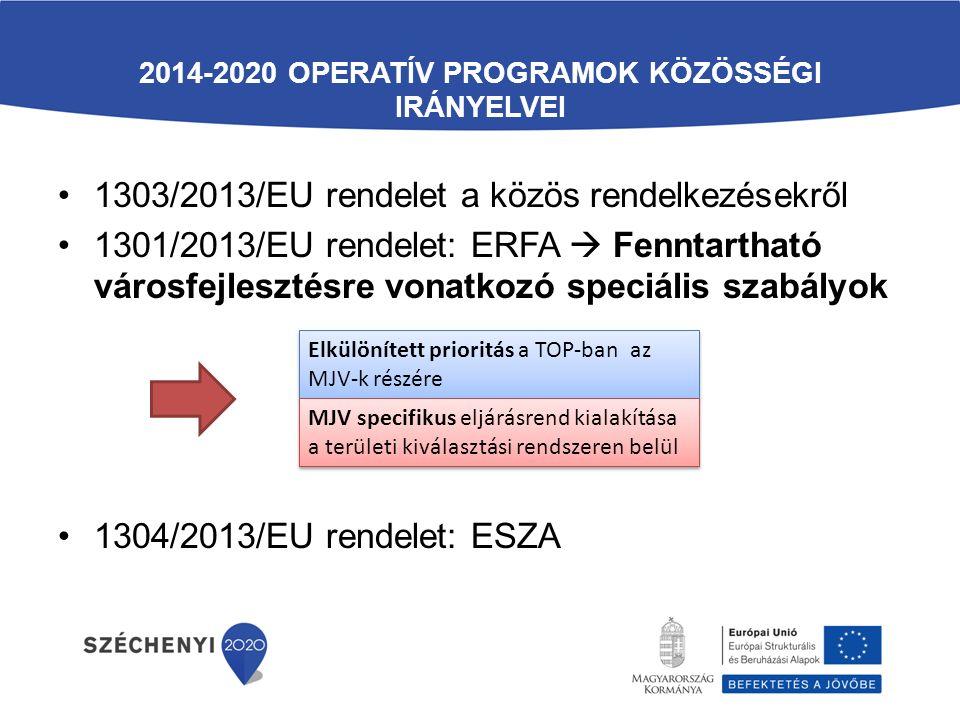 2014-2020 OPERATÍV PROGRAMOK KÖZÖSSÉGI IRÁNYELVEI 1303/2013/EU rendelet a közös rendelkezésekről 1301/2013/EU rendelet: ERFA  Fenntartható városfejlesztésre vonatkozó speciális szabályok 1304/2013/EU rendelet: ESZA Elkülönített prioritás a TOP-ban az MJV-k részére MJV specifikus eljárásrend kialakítása a területi kiválasztási rendszeren belül