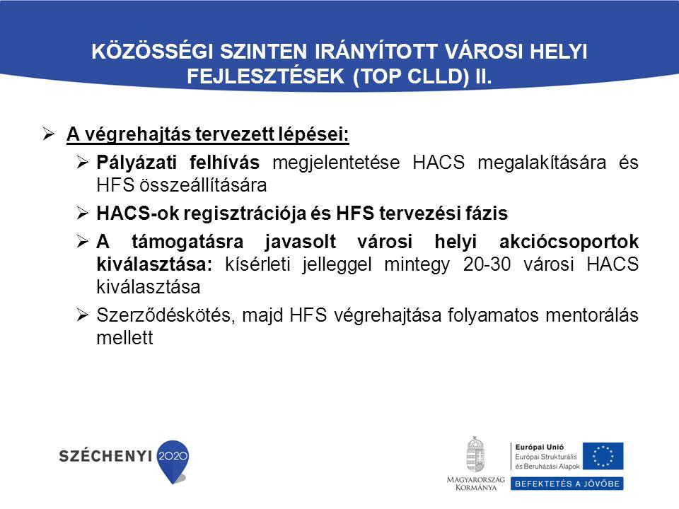 KÖZÖSSÉGI SZINTEN IRÁNYÍTOTT VÁROSI HELYI FEJLESZTÉSEK (TOP CLLD) II.