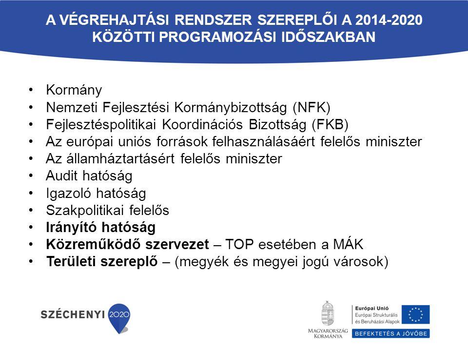 A VÉGREHAJTÁSI RENDSZER SZEREPLŐI A 2014-2020 KÖZÖTTI PROGRAMOZÁSI IDŐSZAKBAN Kormány Nemzeti Fejlesztési Kormánybizottság (NFK) Fejlesztéspolitikai Koordinációs Bizottság (FKB) Az európai uniós források felhasználásáért felelős miniszter Az államháztartásért felelős miniszter Audit hatóság Igazoló hatóság Szakpolitikai felelős Irányító hatóság Közreműködő szervezet – TOP esetében a MÁK Területi szereplő – (megyék és megyei jogú városok)
