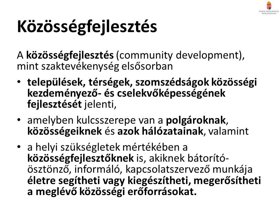 A közösségfejlesztés (community development), mint szaktevékenység elsősorban települések, térségek, szomszédságok közösségi kezdeményező- és cselekvőképességének fejlesztését jelenti, amelyben kulcsszerepe van a polgároknak, közösségeiknek és azok hálózatainak, valamint a helyi szükségletek mértékében a közösségfejlesztőknek is, akiknek bátorító- ösztönző, informáló, kapcsolatszervező munkája életre segítheti vagy kiegészítheti, megerősítheti a meglévő közösségi erőforrásokat.