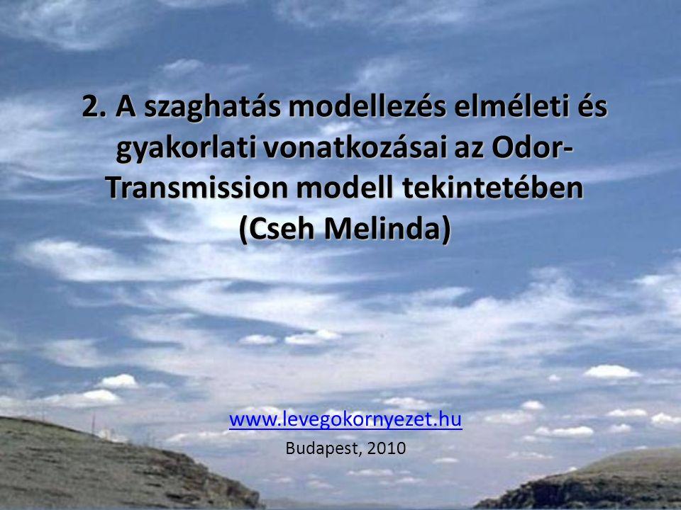 2. A szaghatás modellezés elméleti és gyakorlati vonatkozásai az Odor- Transmission modell tekintetében (Cseh Melinda) www.levegokornyezet.hu Budapest