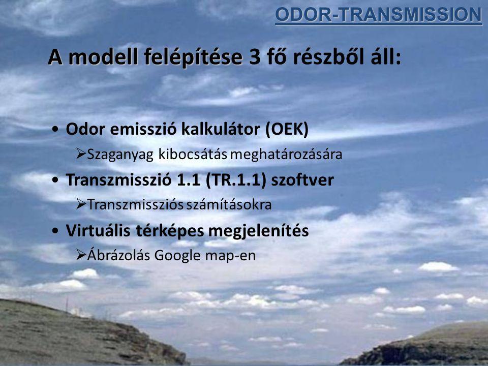 A modell felépítése A modell felépítése 3 fő részből áll: Odor emisszió kalkulátor (OEK)  Szaganyag kibocsátás meghatározására Transzmisszió 1.1 (TR.1.1) szoftver  Transzmissziós számításokra Virtuális térképes megjelenítés  Ábrázolás Google map-enODOR-TRANSMISSION