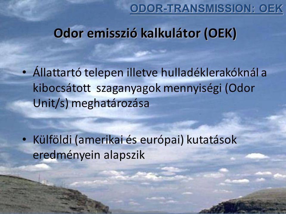 Odor emisszió kalkulátor (OEK) Állattartó telepen illetve hulladéklerakóknál a kibocsátott szaganyagok mennyiségi (Odor Unit/s) meghatározása Külföldi (amerikai és európai) kutatások eredményein alapszik ODOR-TRANSMISSION: OEK