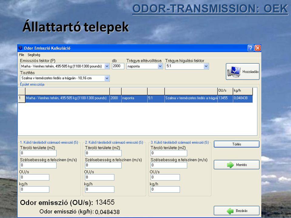 Állattartó telepek ODOR-TRANSMISSION: OEK