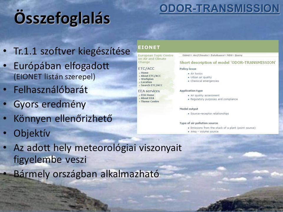 Összefoglalás Tr.1.1 szoftver kiegészítése Európában elfogadott (EIONET listán szerepel) Felhasználóbarát Gyors eredmény Könnyen ellenőrizhető Objektív Az adott hely meteorológiai viszonyait figyelembe veszi Bármely országban alkalmazhatóODOR-TRANSMISSION