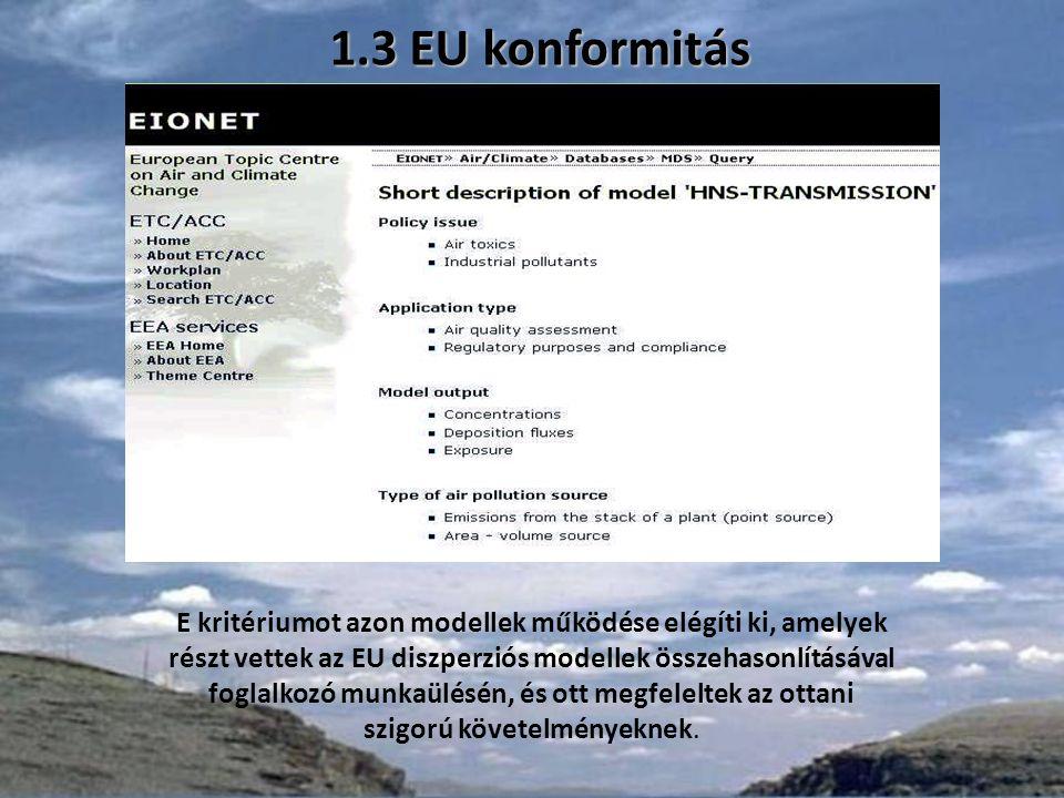 1.3 EU konformitás E kritériumot azon modellek működése elégíti ki, amelyek részt vettek az EU diszperziós modellek összehasonlításával foglalkozó munkaülésén, és ott megfeleltek az ottani szigorú követelményeknek.