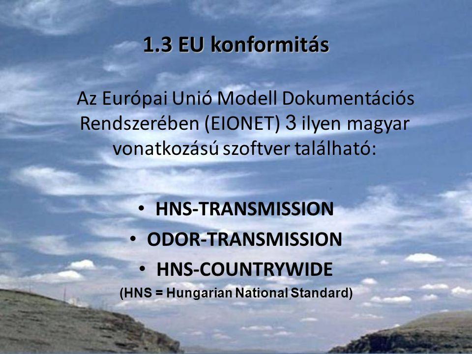 1.3 EU konformitás Az Európai Unió Modell Dokumentációs Rendszerében (EIONET) 3 ilyen magyar vonatkozású szoftver található: HNS-TRANSMISSION ODOR-TRANSMISSION HNS-COUNTRYWIDE (HNS = Hungarian National Standard)