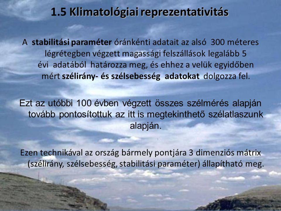 Klimatológiai reprezentativitás 1.5 Klimatológiai reprezentativitás A stabilitási paraméter óránkénti adatait az alsó 300 méteres légrétegben végzett magassági felszállások legalább 5 évi adatából határozza meg, és ehhez a velük egyidőben mért szélirány- és szélsebesség adatokat dolgozza fel.