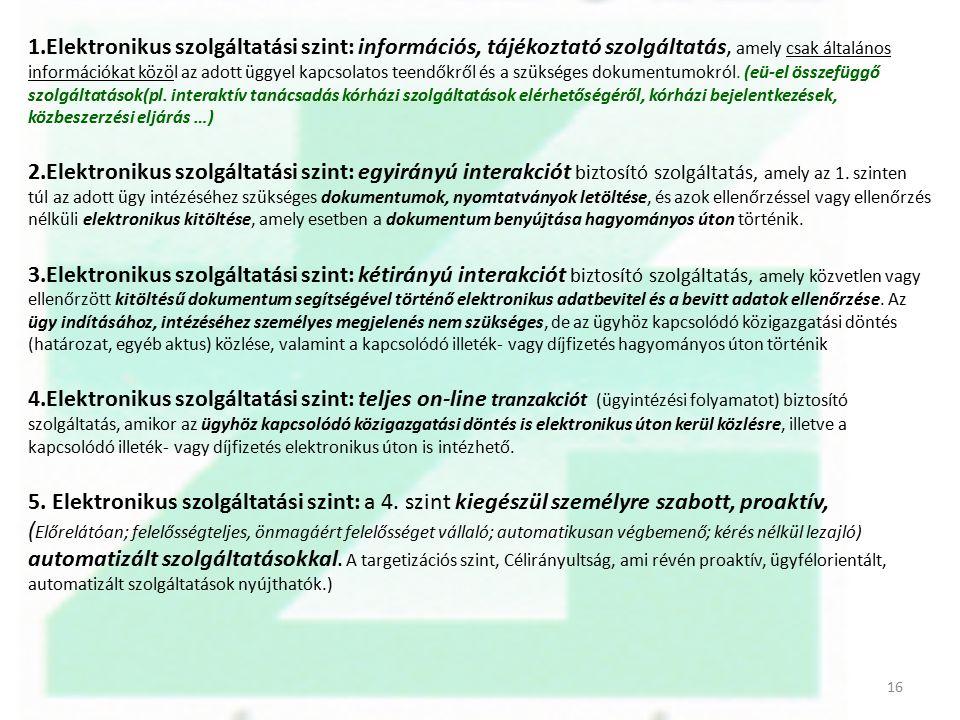 1.Elektronikus szolgáltatási szint: információs, tájékoztató szolgáltatás, amely csak általános információkat közöl az adott üggyel kapcsolatos teendő