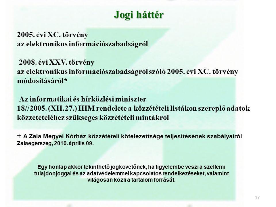 Jogi háttér Jogi háttér 2005. évi XC. törvény az elektronikus információszabadságról 2008. évi XXV. törvény az elektronikus információszabadságról szó