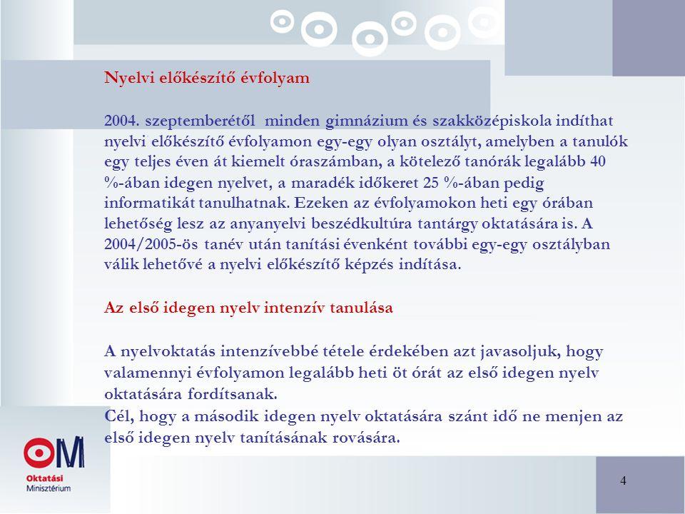4 Nyelvi előkészítő évfolyam 2004. szeptemberétől minden gimnázium és szakközépiskola indíthat nyelvi előkészítő évfolyamon egy-egy olyan osztályt, am