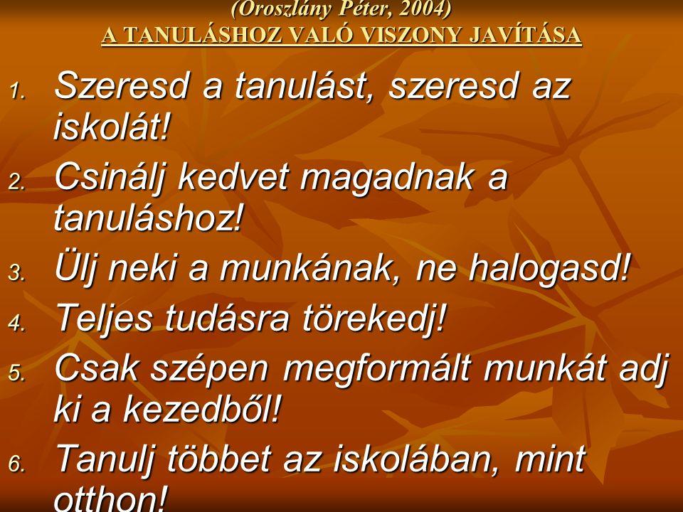 (Oroszlány Péter, 2004) A TANULÁSHOZ VALÓ VISZONY JAVÍTÁSA 1.